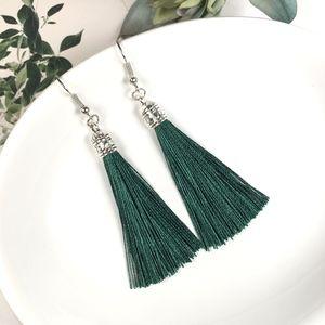 Jewelry - Emerald Green Tassel Dangle Earrings